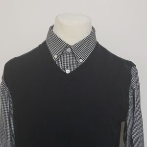 David Taylor Mock Layer Sweater Vest Button Front